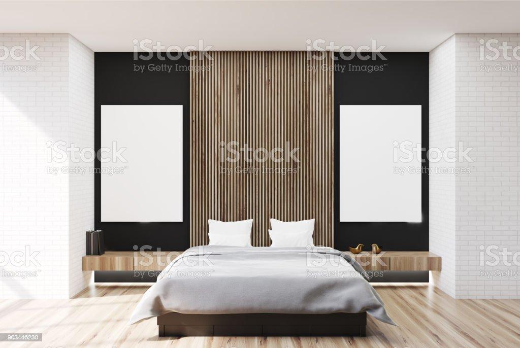 Weiss Schwarz Und Aus Holz Schlafzimmer Zwei Plakate ...