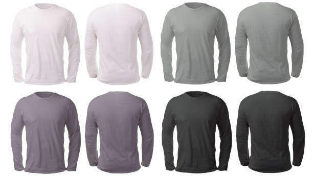 White Black Gray Long Sleeved Shirt Design Template Blank long sleeved shirt mock up template, front and back view, isolated on white, plain black white and gray t-shirt mockup. Tee sweater sweatshirt design presentation for print. shirt stock pictures, royalty-free photos & images