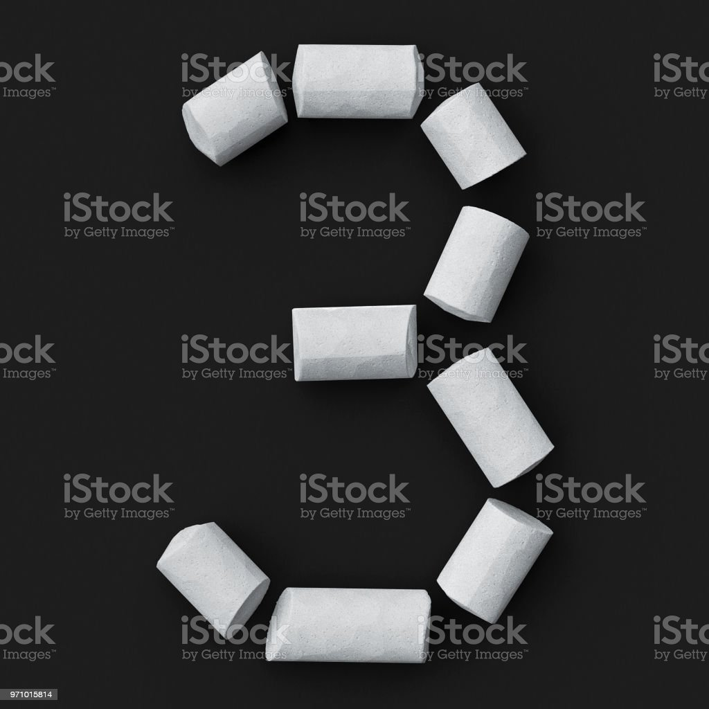 White blackboard chalks assembled like mathematical digit 3 on rough blackboard, 3D rendered font image stock photo