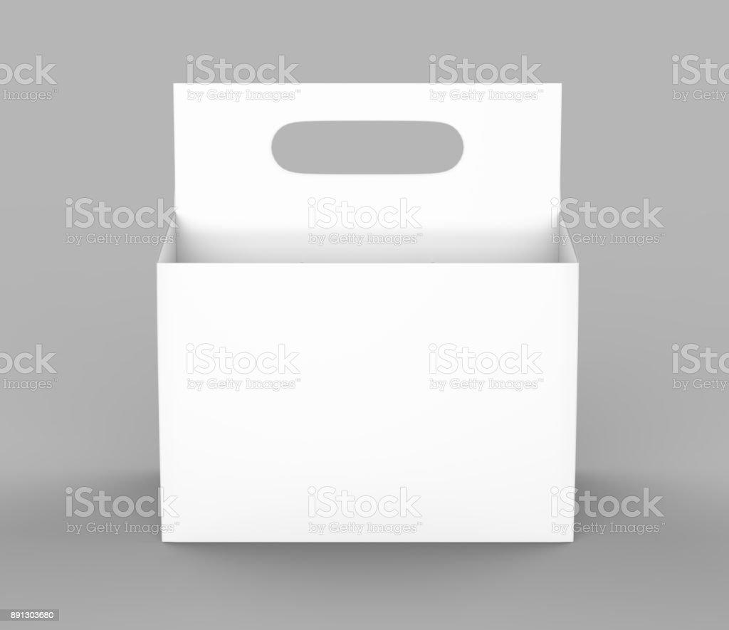 White Blank 6 Pack Beer Packaging On Grey Floor For Mock Up 3d