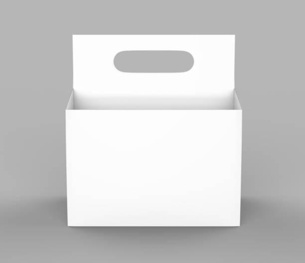 blanc blanc 6 pack emballage de bière sur sol gris pour mock up. rendu 3d - pack de six photos et images de collection