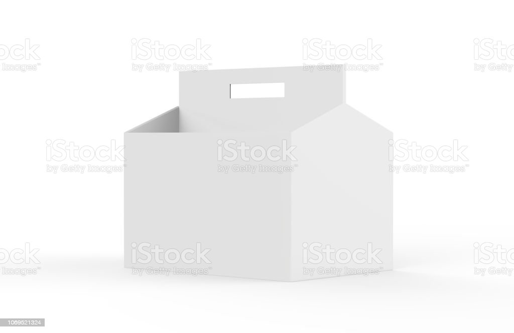 White Blank 6 Pack Beer Packaging On White Floor For Mock Up 3d