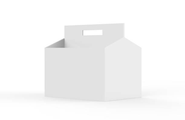 blanc blanc 6 pack bière emballage blanc étage pour maquettes, illustration 3d - pack de six photos et images de collection