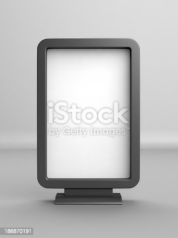 istock A white blank advertising board with black borders and stand 186870191