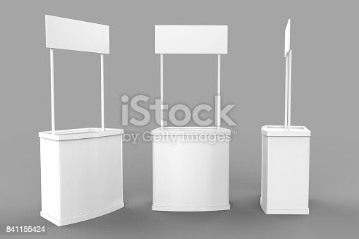 istock White blank advertising POS POI PVC Promotion counter booth, Retail Trade Stand on the grey background. Mock Up Template For Your Design. 3D illustration 841155424