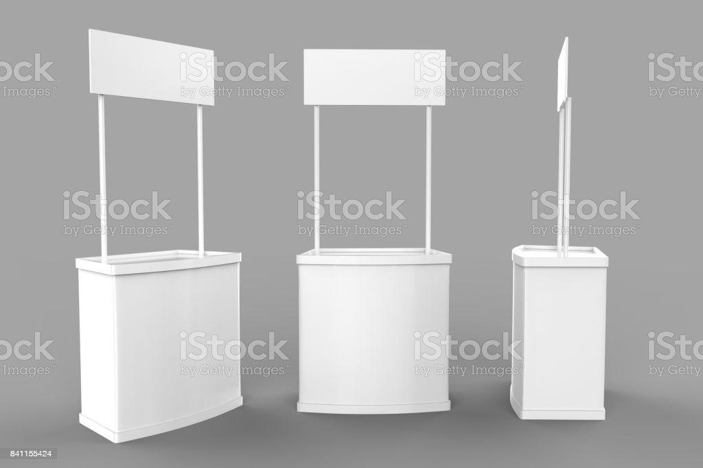 Weiße leere Werbung POS POI PVC Promotion Theke stand, Retail Trade stehen auf dem grauen Hintergrund. Mock-Up Vorlage für Ihr Design. 3D illustration – Foto