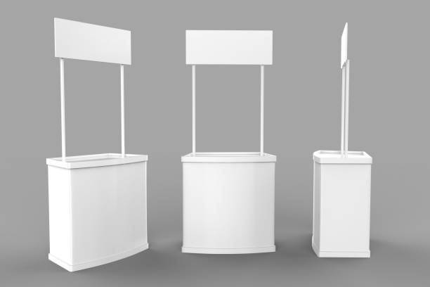 White blank advertising POS POI PVC Promotion counter booth, Retail Trade Stand on the grey background. Mock Up Template For Your Design. 3D illustration stock photo