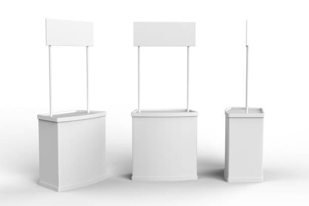 pubblicità bianca bianca pos poi pvc stand contatore promozione, retail trade stand su sfondo bianco. modello di modello modello per il tuo design. illustrazione 3d - bancarella foto e immagini stock