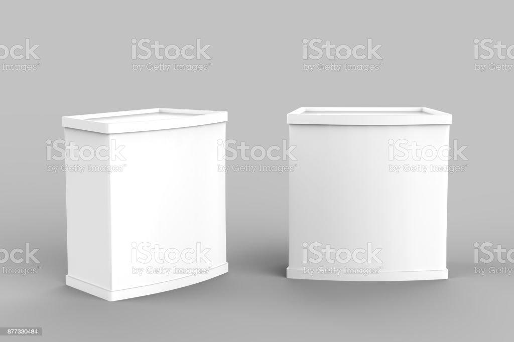 Publicidade em branco branco POS POI PVC promoção contador cabine, varejo comércio ficar isolado no fundo branco. Mock-se modelo para seu projeto. Ilustração 3D - foto de acervo