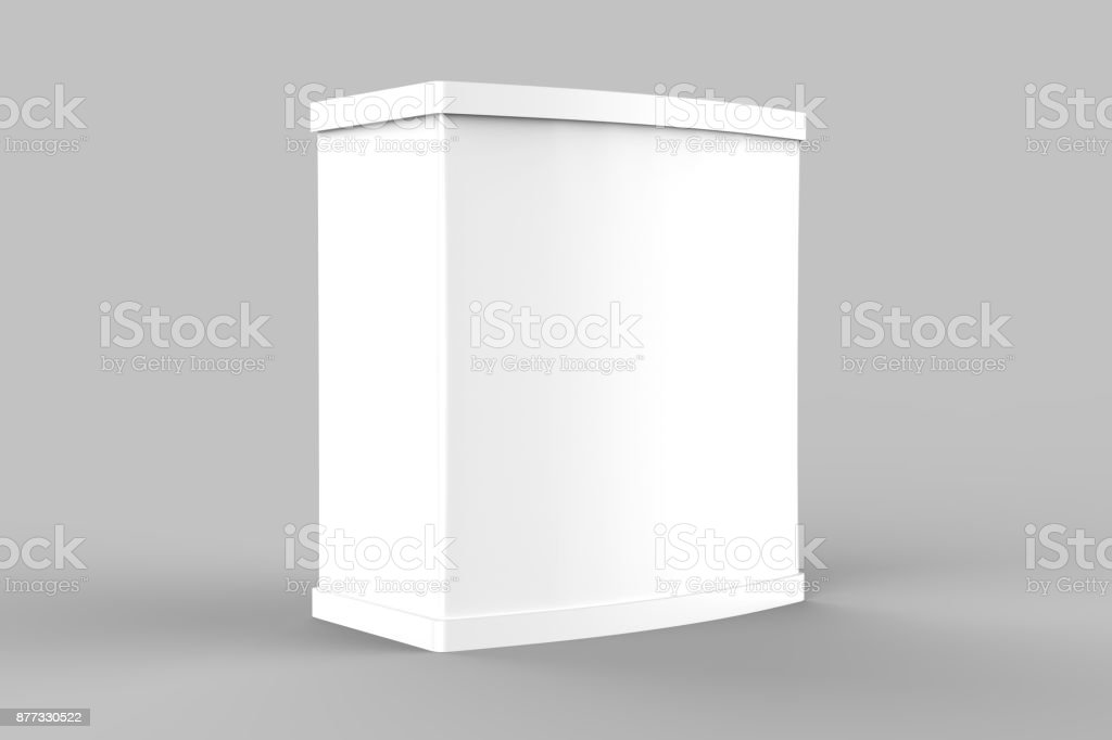 White blank advertising POS POI PVC Promotion counter booth, Retail Trade Stand Isolated on the white background. Mock Up Template For Your Design. 3D illustration stock photo
