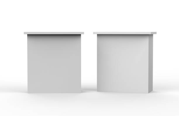witte blanco reclame pos poi pvc bevordering rechtstreeks pop omhooggaand teller stand, retail handel staan, mock up sjabloon op de geïsoleerde witte achtergrond, 3d illustratie - marktkraam stockfoto's en -beelden