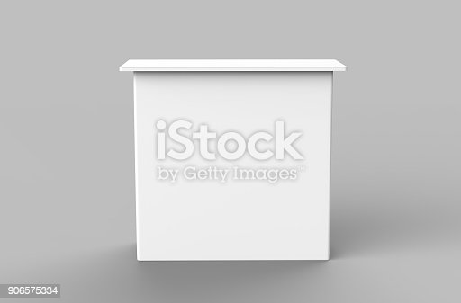 istock White blank advertising POS POI PVC Promotion straight pop up counter booth, Retail Trade Stand Isolated on the white background. Mock Up Template For Your Design. 3D illustration 906575334