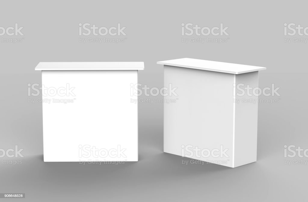 White blank advertising POS POI PVC Promotion straight pop up counter booth, Retail Trade Stand Isolated on the white background. Mock Up Template For Your Design. 3D illustration stock photo