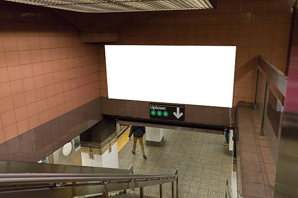 white blank billboards in the subway tunnel. - billboard train station bildbanksfoton och bilder