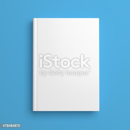 istock White blank book cover isolated on blue 478484670