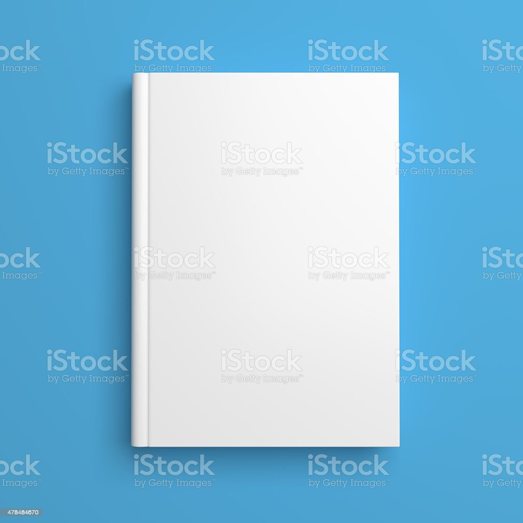 White blank book cover isolated on blue stock photo