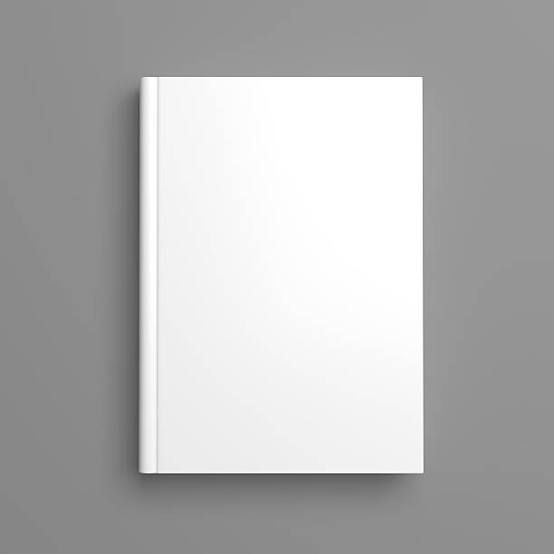 White blank book cover isolated on grey Top view of white blank book cover on grey background with shadow hardcover book stock pictures, royalty-free photos & images