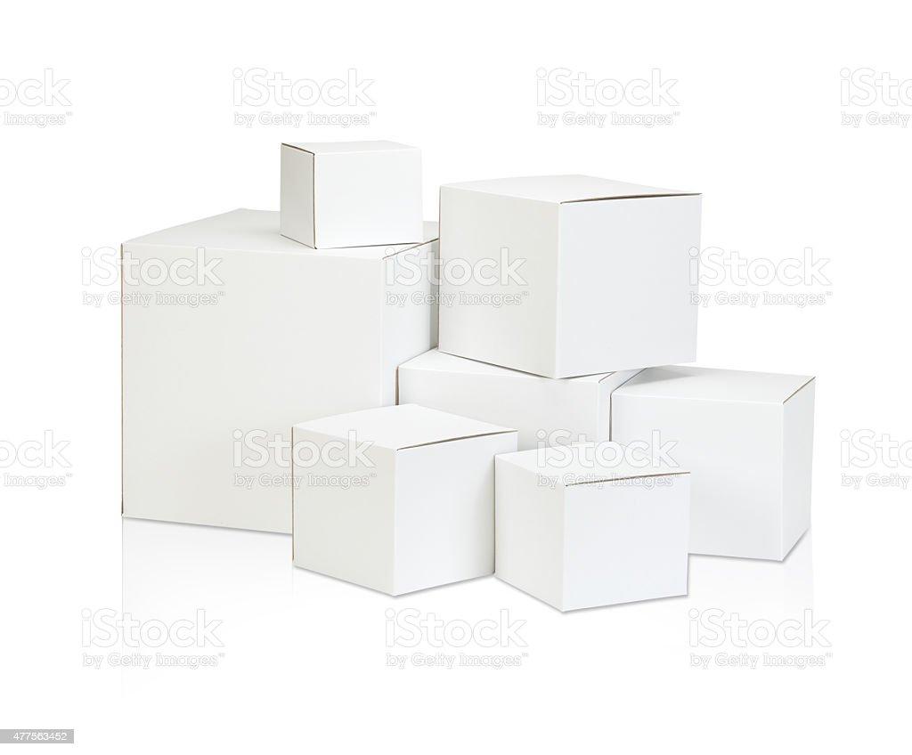 White blank box on white background stock photo