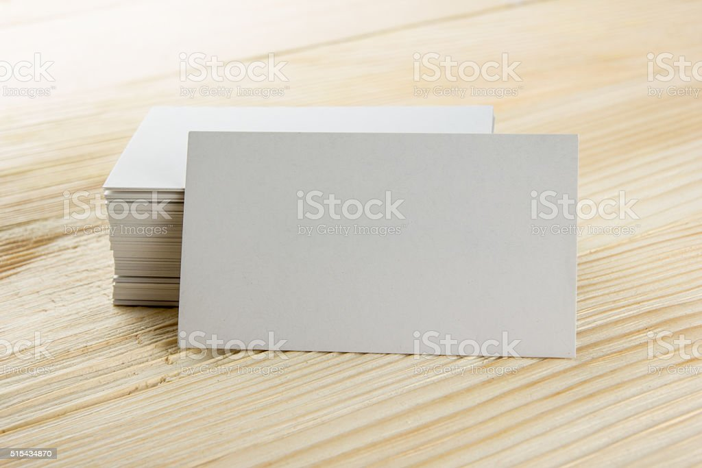 White blank business visit card, gift, ticket, pass, present clo stock photo