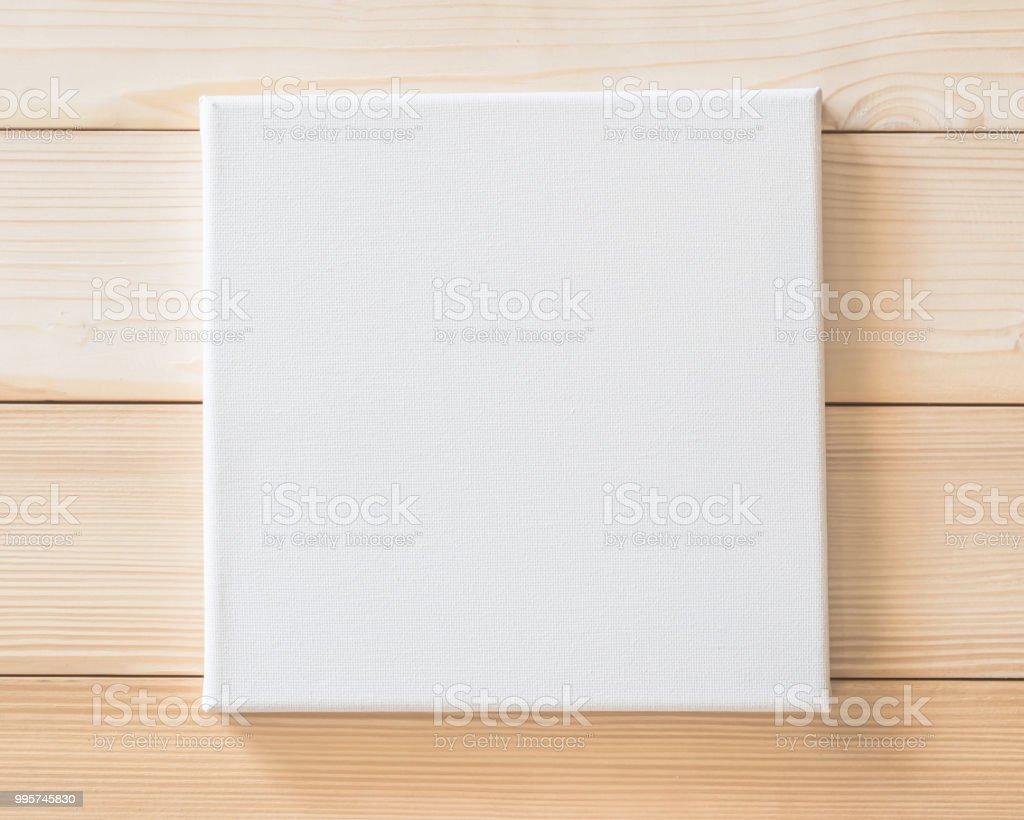 Weiße Leinwand Mockup Quadratische Größe Auf Holz Wand Für Kunst