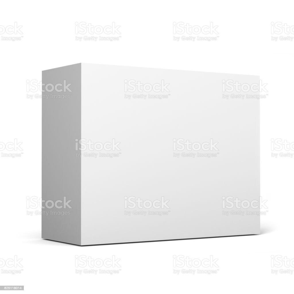 Beyaz boş karton sahte için beyaz arka plan üzerinde 3D kutu ambalaj ve kalıp çizmek. stok fotoğrafı