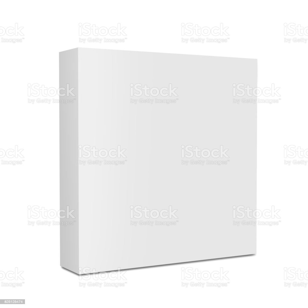 White blank cardboard packaging 3d box on white background for mock up and template design. stock photo