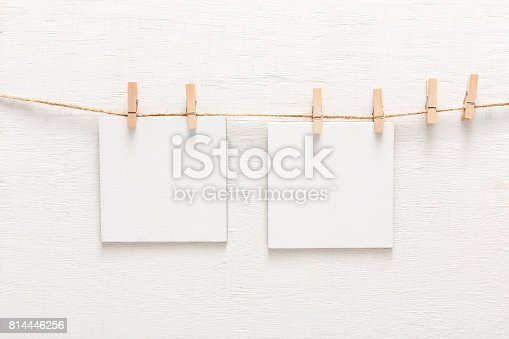 istock White blank cards on rope, copy space 814446256
