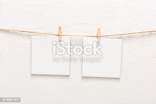 istock White blank cards on rope, copy space 818681972