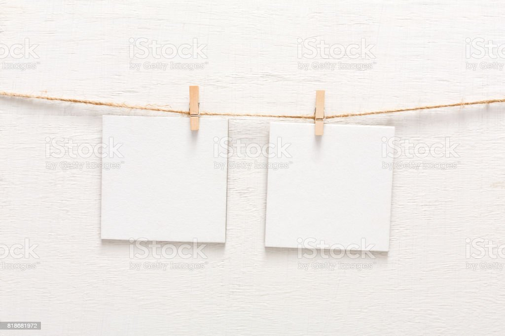 White blank cards on rope, copy space stock photo