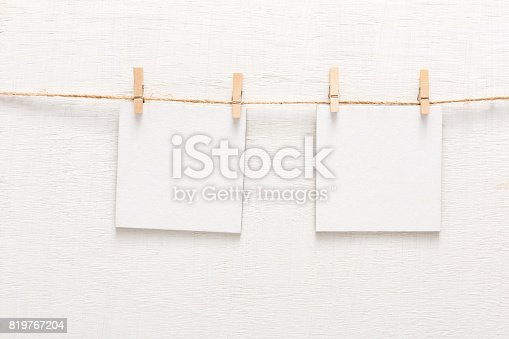 istock White blank cards on rope, copy space 819767204