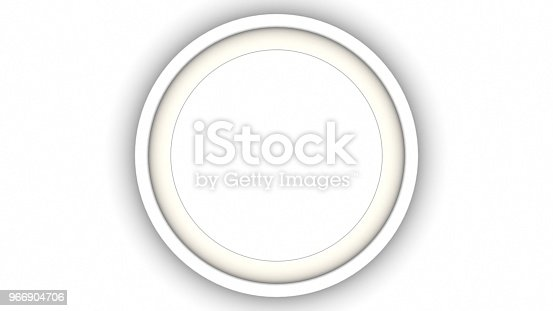 1144461291 istock photo White blank circle frame and shadow on white background. 3d rendering 966904706