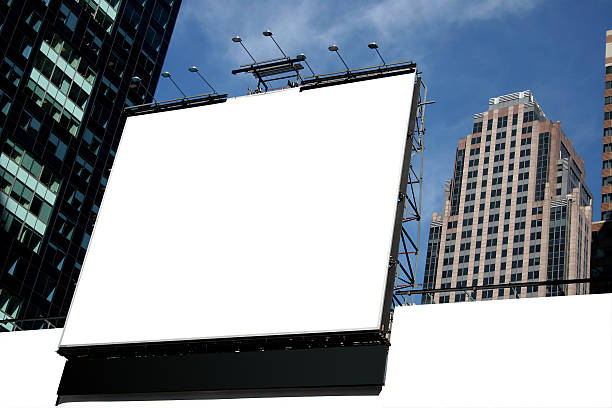 white blank city billboard with high rise buildings - times square stock photos and pictures