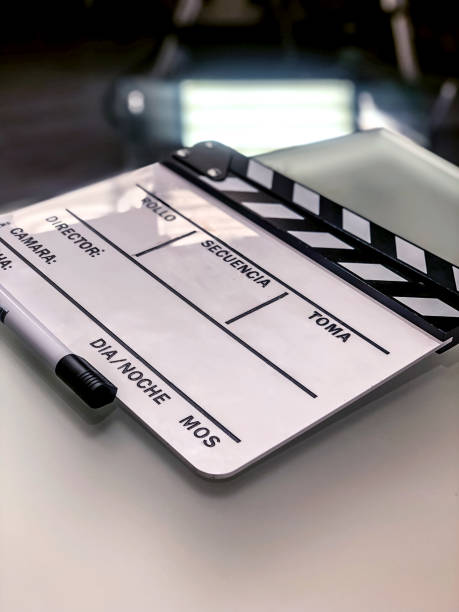 White blank clapperboard on set stock photo