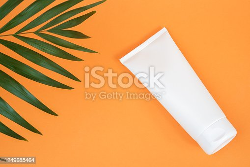 istock White blank cosmetic bottle, tube of cream, lotion for body, face or hand and green branch of palm. Concept cosmetics with vitamin C, antioxidants or anti-cellulite. Mockup Front view 1249685464