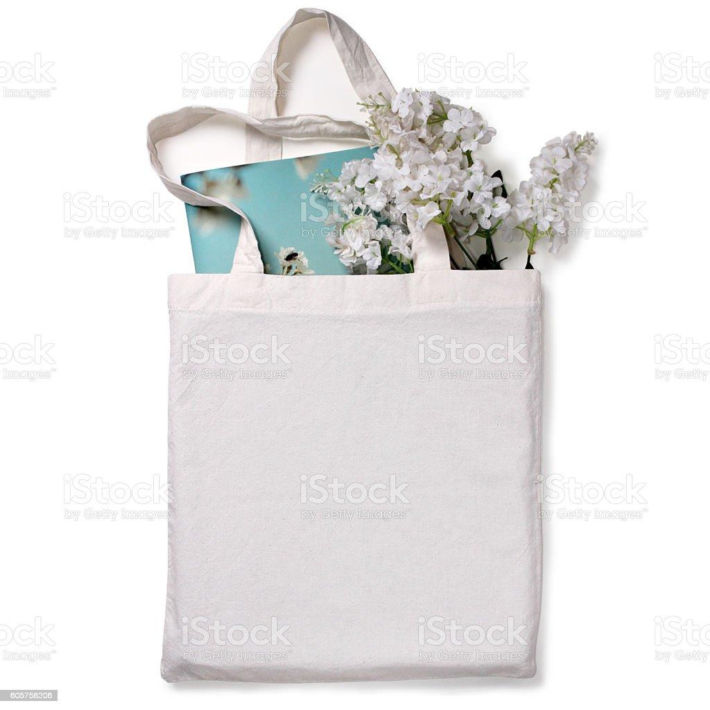 White blank cotton eco tote bag, design mockup. stock photo