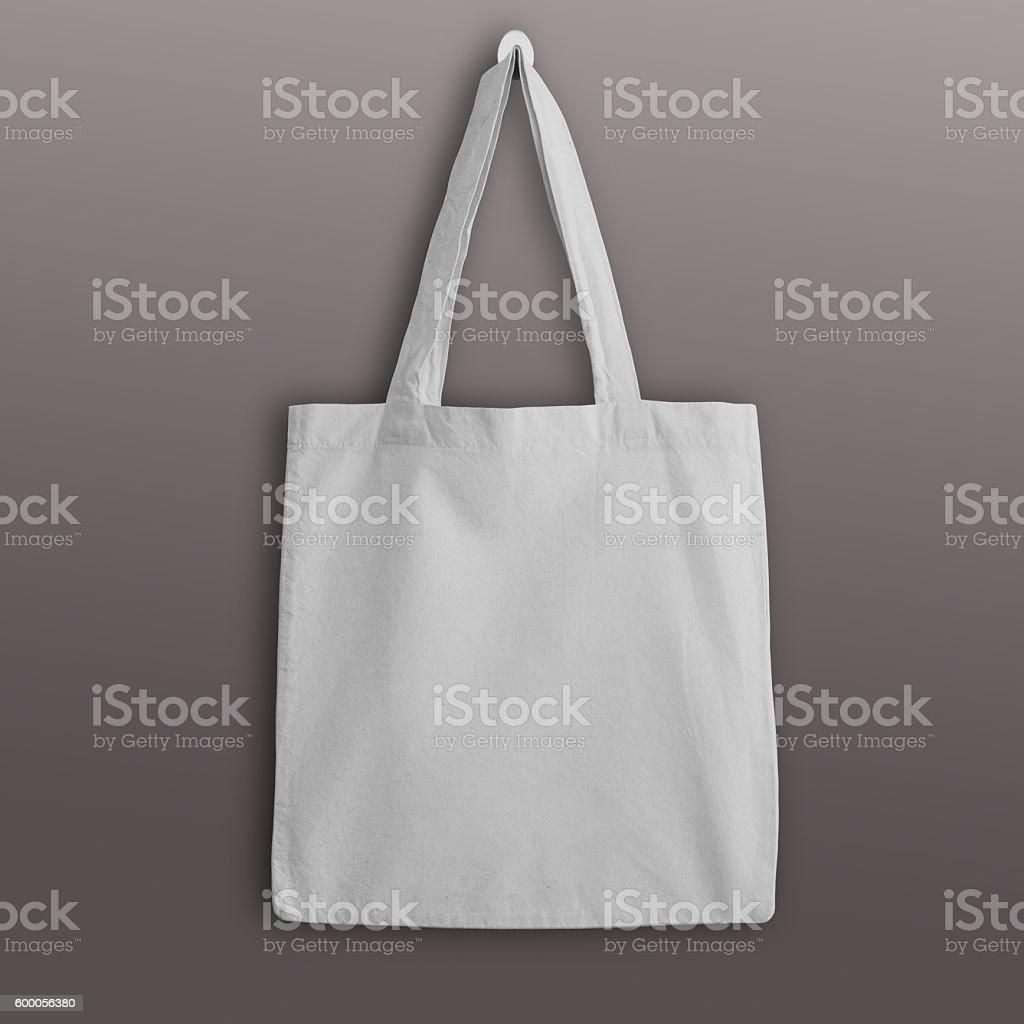 White blank cotton eco tote bag mockup. stock photo