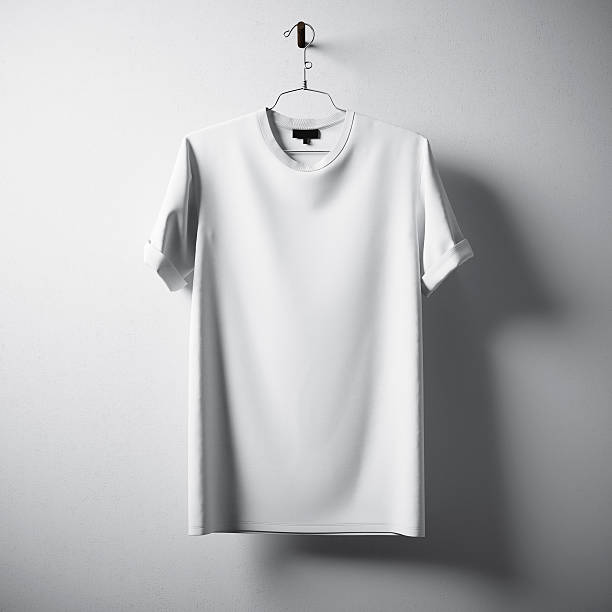 White Blank Cotton Tshirt Hanging Center Gray Concrete Empty Wall – Foto
