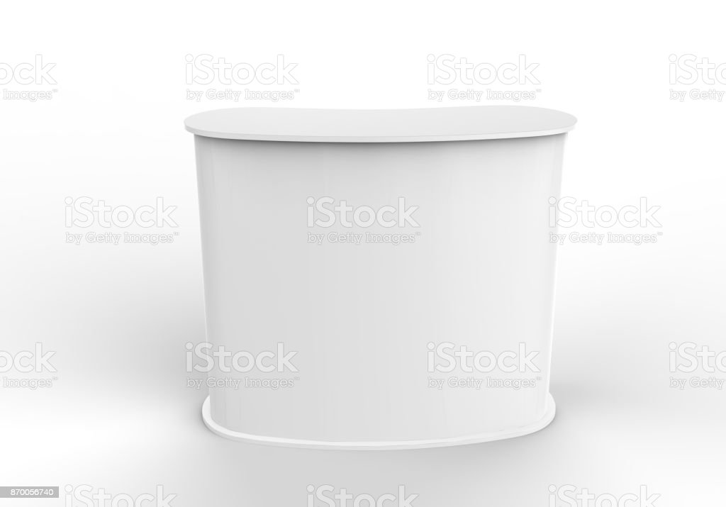 White blank curved exhibit promotional counter advertising POS POI PVC booth, Retail Trade Stand Isolated on the white background. Mock Up Template For Your Design. 3D illustration. stock photo