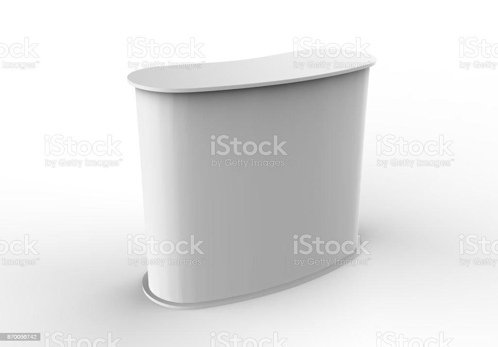 Branco em branco curvo apresentam balcão promocional publicidade cabine POS POI PVC, varejo comércio ficar isolado no fundo branco. Mock-se modelo para seu projeto. Ilustração 3D. - foto de acervo