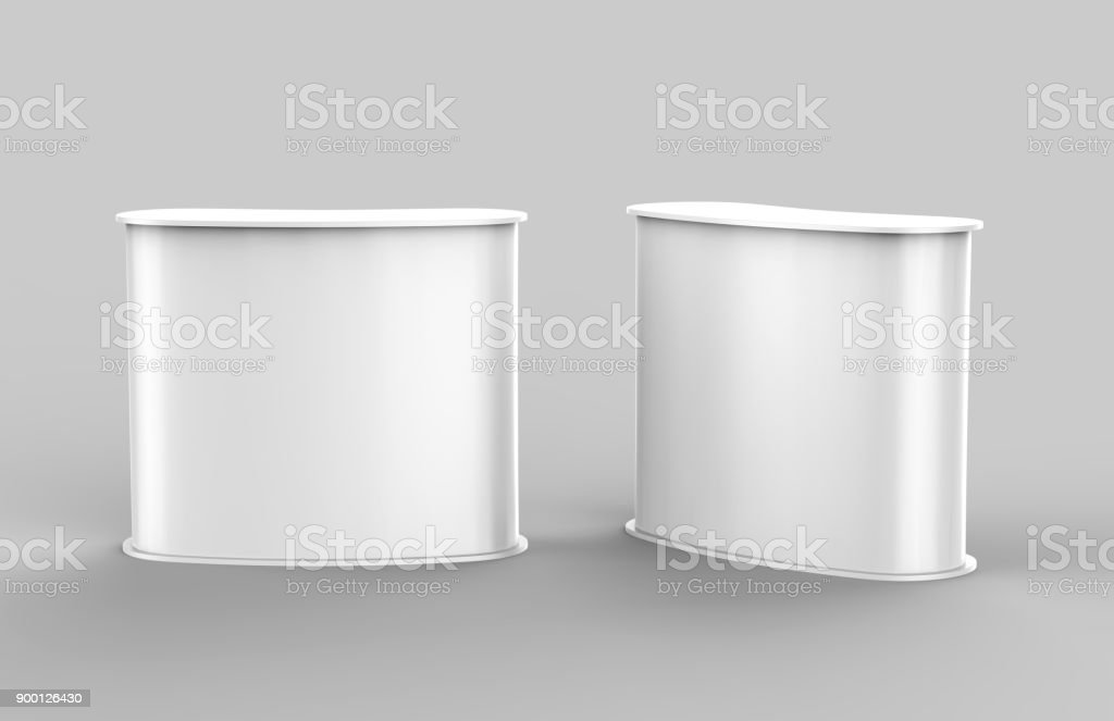 White blank curved exhibit promotional counter advertising POS POI PVC booth, Retail Trade Stand Isolated on the white background. Mock Up Template For Your Design. 3D illustration. - Foto stock royalty-free di Affari