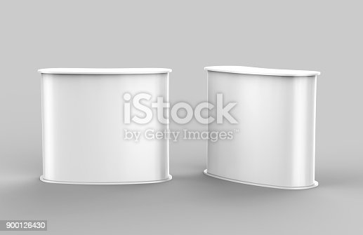 istock White blank curved exhibit promotional counter advertising POS POI PVC booth, Retail Trade Stand Isolated on the white background. Mock Up Template For Your Design. 3D illustration. 900126430