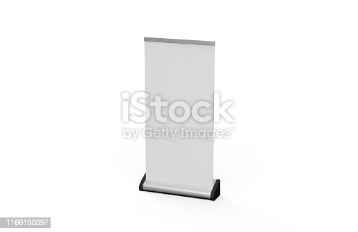 869974364 istock photo White blank empty business roll up and standee banner display mock up template for your design presentation, 3d illustration 1166160397