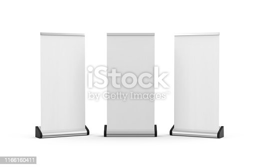869974364 istock photo White blank empty business roll up and standee banner display mock up template for your design presentation, 3d illustration 1166160411