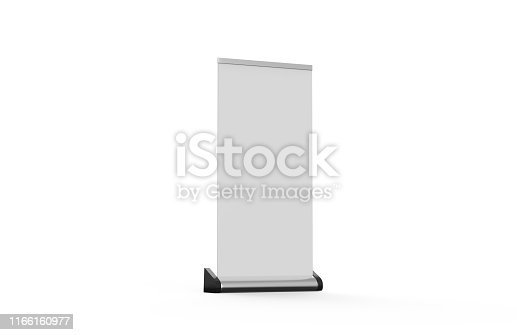 869974364 istock photo White blank empty business roll up and standee banner display mock up template for your design presentation, 3d illustration 1166160977