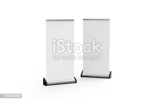 istock White blank empty business roll up and standee banner display mock up template for your design presentation, 3d illustration 1166160997