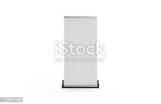 istock White blank empty business roll up and standee banner display mock up template for your design presentation, 3d illustration 1166161005
