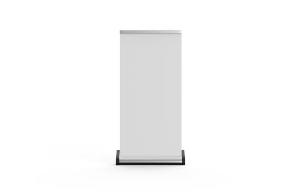 white blank empty business roll up and standee banner display mock up template for your design presentation, 3d illustration - totem fair foto e immagini stock