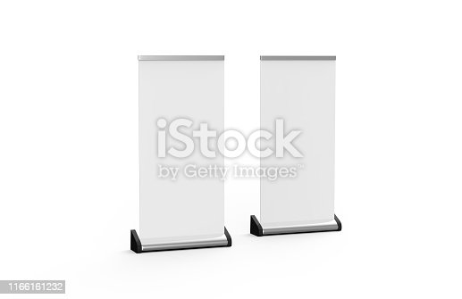 869974364 istock photo White blank empty business roll up and standee banner display mock up template for your design presentation, 3d illustration 1166161232