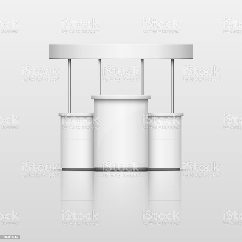 3D White blank empty exhibition promotion trade stand With Roof stock photo