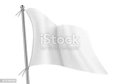 istock White blank empty flag on flagpole flying in the wind isolated on white for mock up and template. 825086696